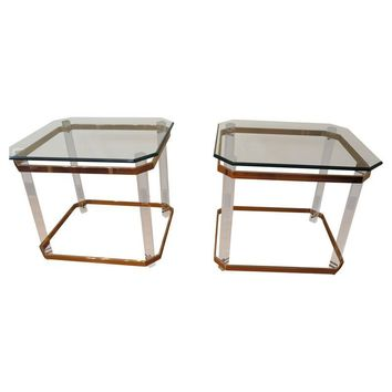 Pre-owned Charles Hollis Jones Lucite Brass and Glass Tables