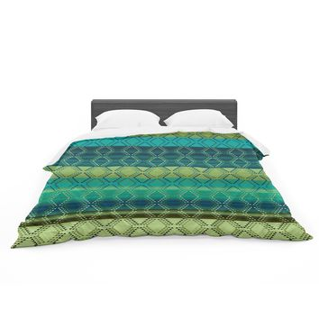 "Nina May ""Denin Diamond Gradient Green"" Turquoise Emerald Featherweight Duvet Cover"