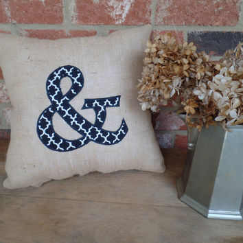 "Burlap Ampersand Appliqued Pillow !5"" X 15"", Decorative Pillow, Throw Pillow, Wedding Pillow"