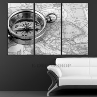Compass Art Canvas Print - Compas and Ship Map Art Canvas Print - Old Map Wall Art