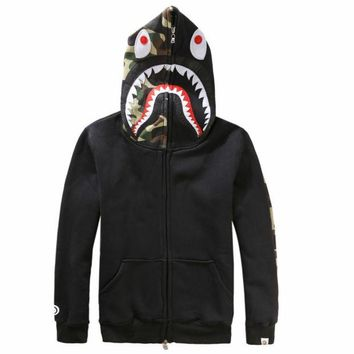 ONETOW Bape Aape Shark Hoodies Men's plus velvet sweater Men's and women's lovers hooded jacket Black