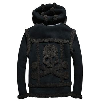 2018 Black Men Hood Skull Pattern Russian Genuine Shearling Coat