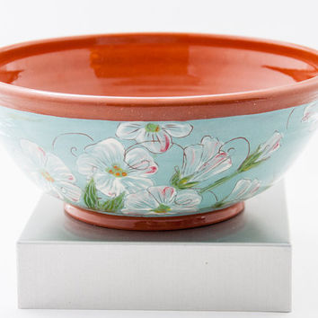 Pottery. Colorful Floral Pattern Terra Cotta Bowl.