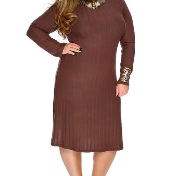 Brown Turtle Neck Long Sleeves Plus Size Party Dress