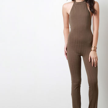 Ribbed Knit Halter Bell Bottom Jumpsuit