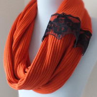 SCARF// Handmade Infinity Eternity Scarf Fashion Circle Necklace Chunky Cowl orange black