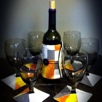 URBAN FALL patchwork wine bottle and wine glass cozy 7 pc. set.