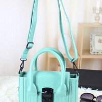 Green Candy Color Hardware Toggle Closure PU Handbag