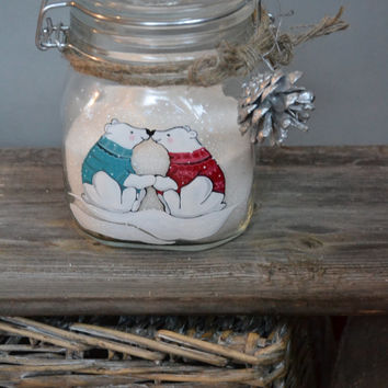 Hand Painted Storage Glass Jar wedding favor gift for lovers in wedding or anniversary White Bears Couple