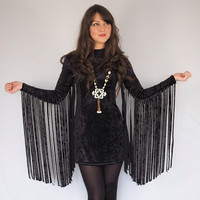 Black Crushed Velvet Fringe Sleeved Dress