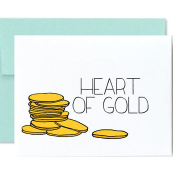 Heart of gold love wedding anniversary valentines day for wife husband gold coins girlfriend boyfriend fiance greeting card