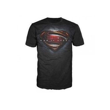 Superman Man of Steel Logo DC Comics Licensed Adult Unisex T-Shirts - Black