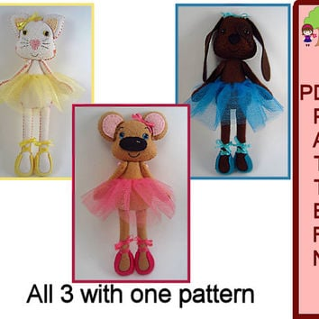 Doll PDF Pattern Animal Ballerina Plush