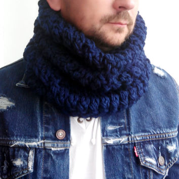 NAVY SCARF MENS Hand Crochet Scarf Soft Infinity Mens Braided Cable Boho Cowl Loop Crochet Slouchy Mens Scarf Slouch Beanie Hand Winter