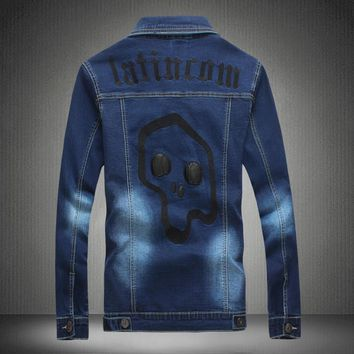 Hip hop clothing men famous brand polo autumn jacket male coat skull denim jacket mens