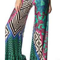 Silky Floral Print High Fold Over Waist Wide Leg Palazzo Pants  - Bottoms - Clothing