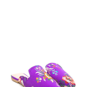 Floral Energy Pointy Satin Mule Flats GoJane.com