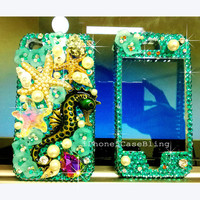 iPhone 4 Case iPhone 4s Case iPhone 5 Case, iPhone 4 front and back case, iphone 5 front and back case Bling iphone 4 case starfish seahorse