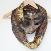 Nuno felted animal fur print infinity circle loop shawl wrap scarf silk wool tiger ooak brown beige orange yellow ponge