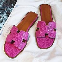 Hermes Fashion Women Casual Leather Beach Flat Slippers Sandals Shoes Rose Red