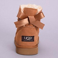 UGG Women Fashion Bow Leather Boots Short Boots Shoes
