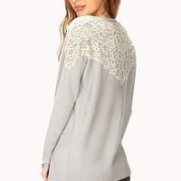 FOREVER 21 Sweet Lace Sweater Crystal/Cream Medium