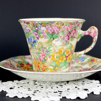 James Kent Fenton Teacup, Crazy Paving Chintz, Tea Cup and Sacer, Made in England 12587