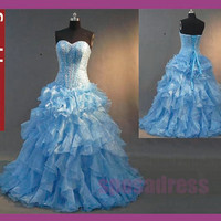 free shipping baby blue prom dress, blue prom dress, long prom dress, light blue prom dress, 1302