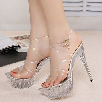 WOMEN HIGH HEEL SANDALS JELLY CRYSTAL CLEAR WOMEN SHOES WATERPROOF PLATFORM SANDALIA FEMININA WEDDING PUMPS LARGE SIZE 35-43