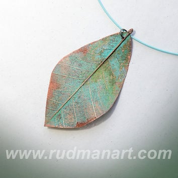 ООАК Necklace. Copper Preserved Nature - Unique Technology - Misty Rust Patina Copper Necklace - eco jewelry