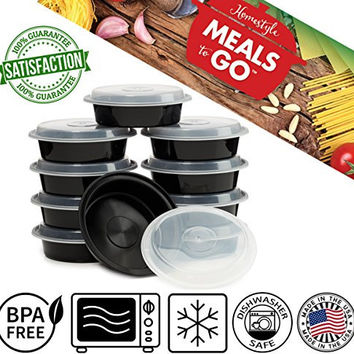 "Meals-to-Go Lunch Box Containers with Lids - BPA Free Plastic - Stackable, Reusable, Microwave Safe - Bento Lunch Box Sets - 10 Pack (24 ounce round container with lid (7"")"