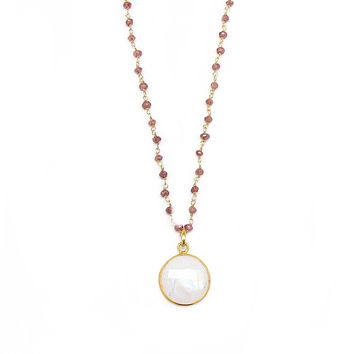 Moonstone and Garnet Long Pendant Necklace