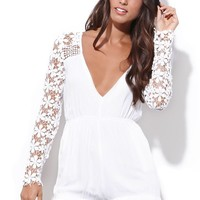 Reverse Daisy Lace Romper - Womens Dress - White -