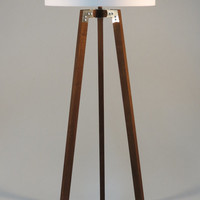 Handmade Tripod Floor lamp, wooden stand in dark wood color with metal elements,drum lampshade, different colors lampshade,model Ivanina