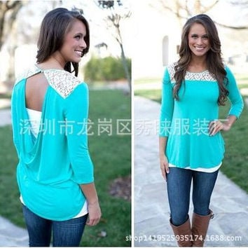 Women's Trending Popular Fashion Hollow Bandage Lace Long Long Sleeve Round Necked Solid T-Shirt _ 8907