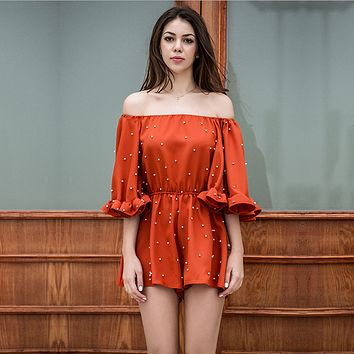 Fashion Off Shoulder Pearl Embellishment Frills Middle Sleeve Romper Jumpsuit Shorts