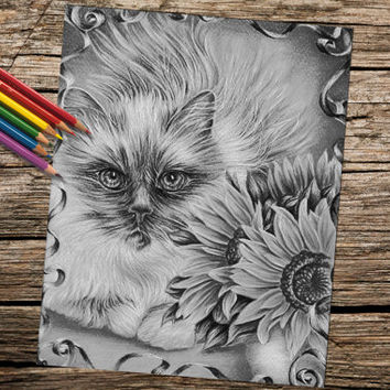 Cat with Flowers coloring book page, adult coloring book, coloring page, adult coloring page, coloring book for adults, printable coloring