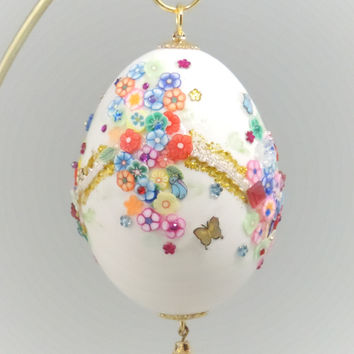 Blooming Flowers Decorated Ornament Miniature Garlanded Flower Decoration Home Decor Egg Ornament Faberge Style Decorated Egg Art