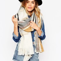 ASOS Oversized Scarf With Check & Reversible Stripe With Raw Tassel Edge