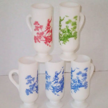 Avon milk glass Demi cups  SET OF 7 tole scene on white in tole scene on white milk glass