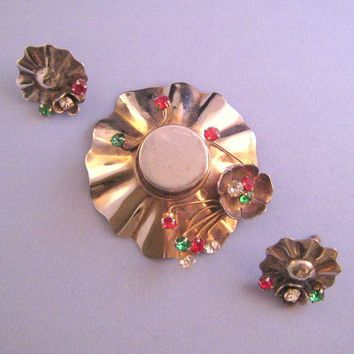 Sterling Fluted Broad Brimmed Hat Brooch with Matching Earrings