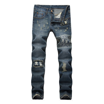 Mens Ripped jeans Male Runway Straight Jeans Denim Biker Slim Fit Jean Washed Rap Skull Blue Jeans Hip Hop Pantcwork Pants