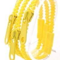 Yellow Zipper Decor Bracelet Trio
