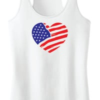 American Flag Heart Racerback Tank Top