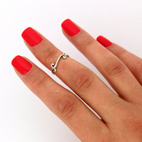 sterling silver knuckle ring Curled Floral spiral design above knuckle ring adjustable midi ring (T-59) Also Toe ring
