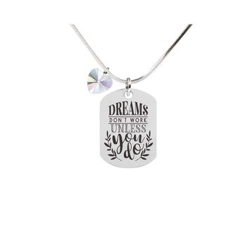 Inspirational Tag Necklace In AB Made With Crystals From Swarovski - DREAMS 40af27a467