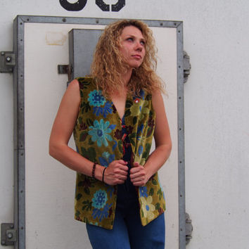70's Flower Power Carpet Vest