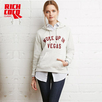 Fashion Autumn Winter Women Casual Loose Hooded Long Sleeve Alphabets Outerwear Jacket Sweatshirt a13268