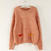 Solid Decoration Splicing Color Yarn Scoop Sweater
