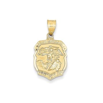 14k Yellow Gold Saint Michael Medal Badge Pendant